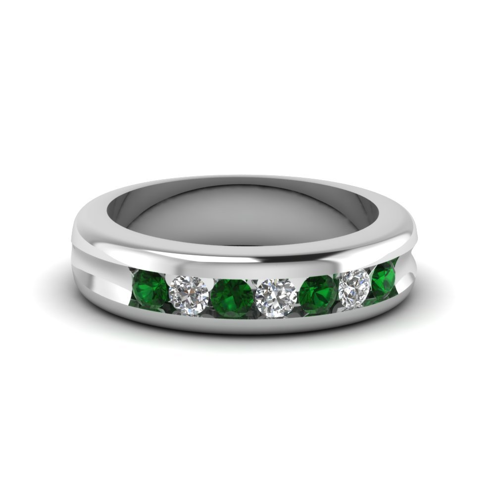 Channel Set Diamond Wedding Band With Emerald In 18K White Gold