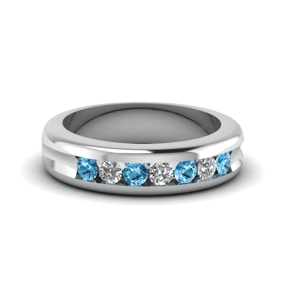 Channel Set Diamond Wedding Band With Ice Blue Topaz In 950 Platinum