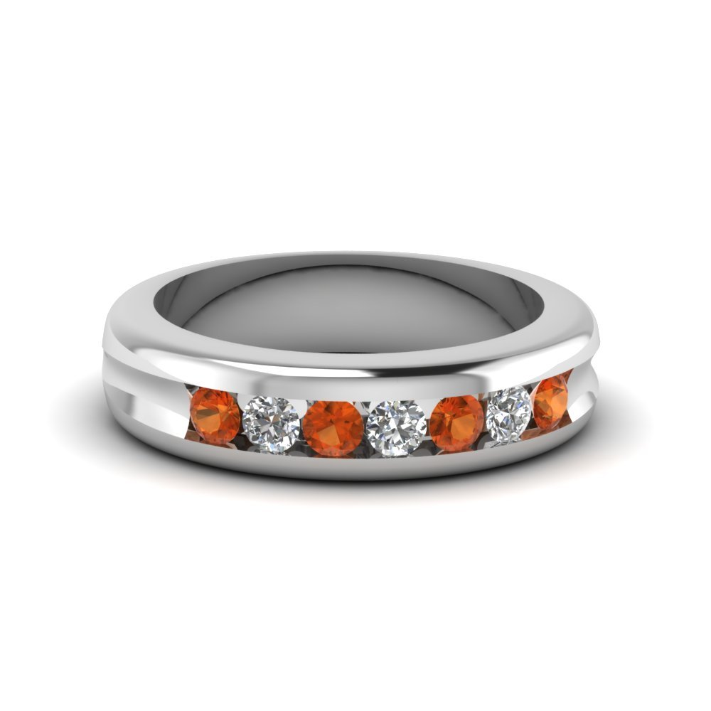 Channel Set Diamond Wedding Band With Orange Sapphire In 14K White Gold