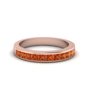 Channel Set Wedding Band With Orange Sapphire In 14K Rose Gold