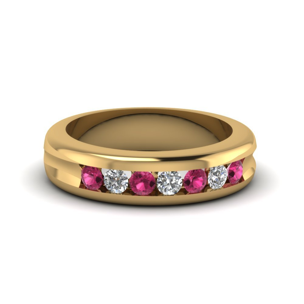 Channel Set Diamond Wedding Band With Pink Sapphire In 14K Yellow Gold