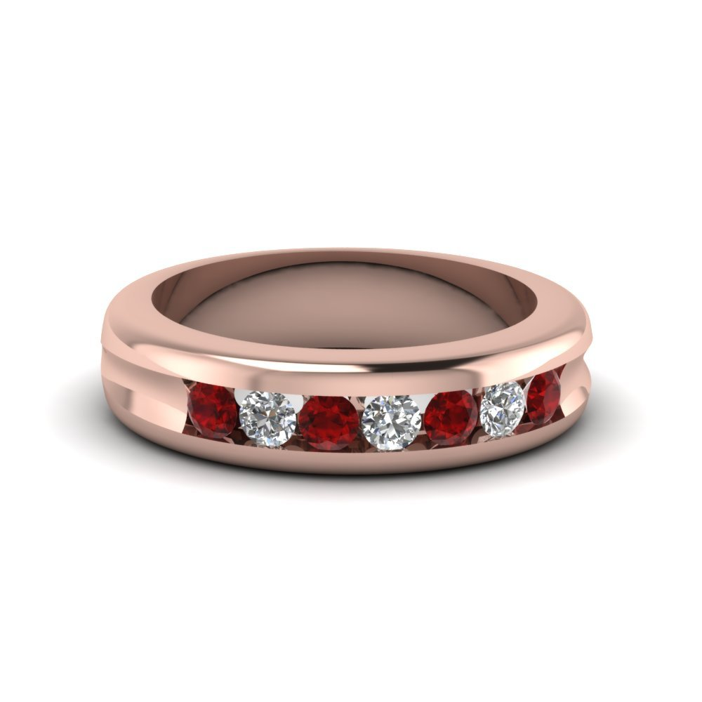 Channel Set Diamond Wedding Band With Ruby In 18K Rose Gold