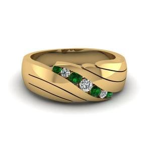 Antique Emerald Mens Wedding Band