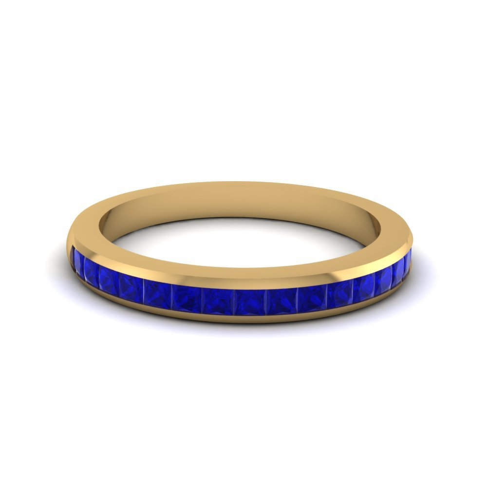 Channel Set Princess Cut sapphire Band