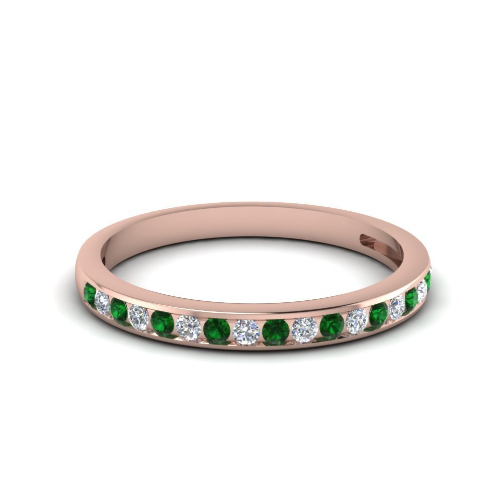 Channel Set Round Diamond Women Wedding Band With Emerald In 14K Rose Gold