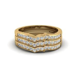Channel Set Stacked Diamond Women Wedding Band In 14K Yellow Gold