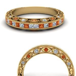 Antique Orange Sapphire Band