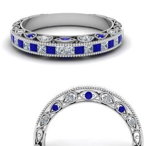 Channel Set Vintage Sapphire Band