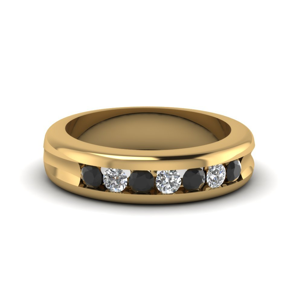 Channel Set Wedding Band With Black Diamond In 18K Yellow Gold