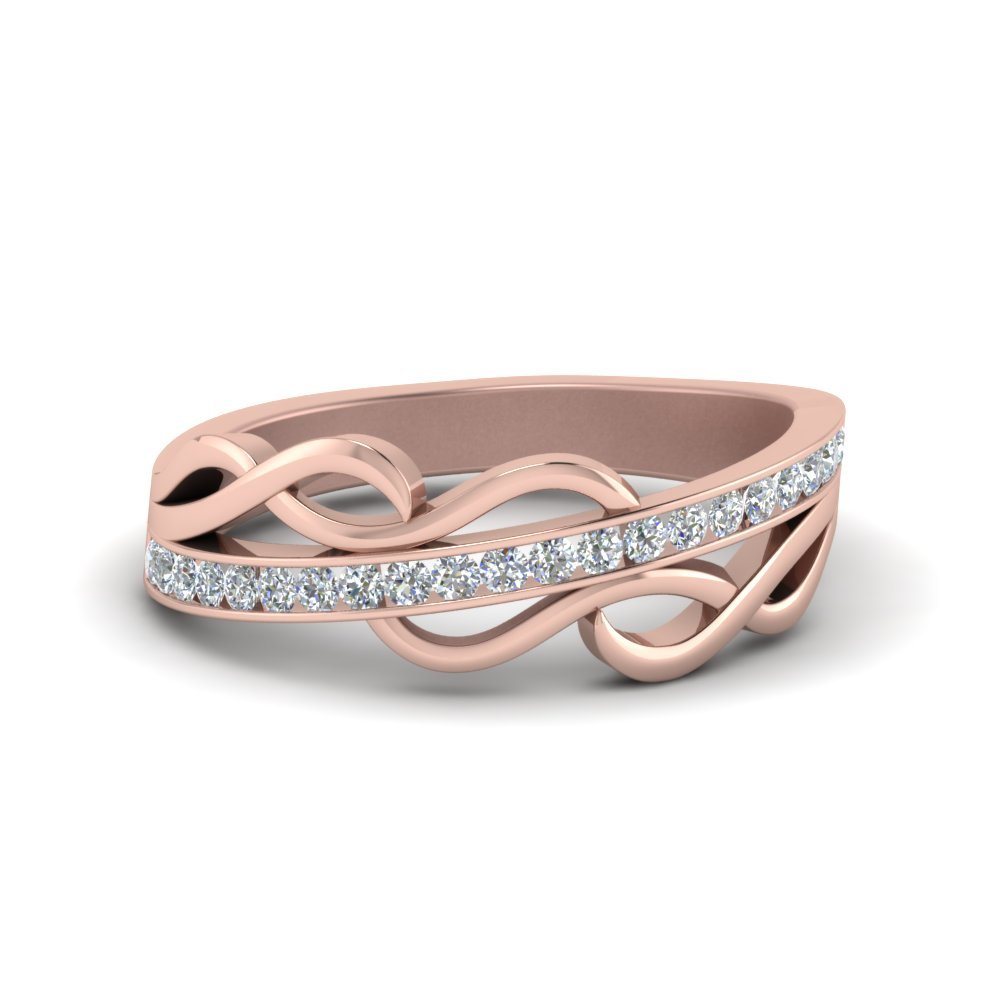 Channel Twisted Diamond Wedding Band In 14K Rose Gold