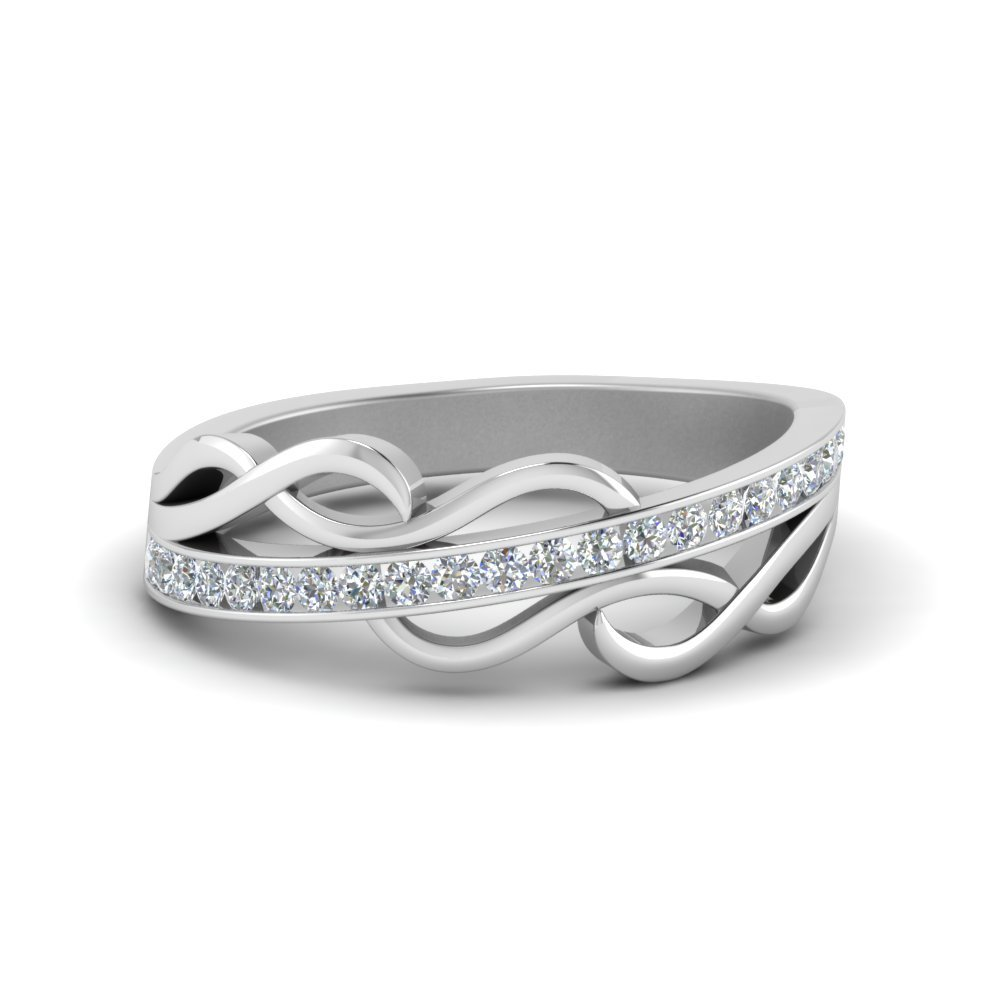 Channel Twisted Diamond Wedding Band In 14K White Gold