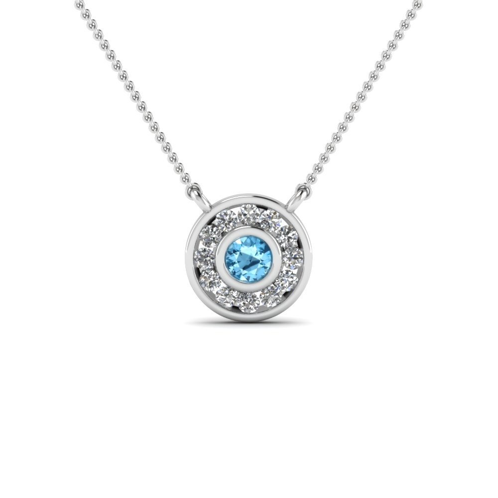 Circle Bezel Set Blue Topaz Pendant