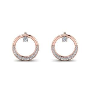 Circle Stud Diamond Earring In 14K Rose Gold