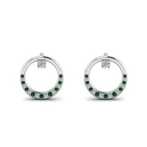 Pave Set Emerald Earring