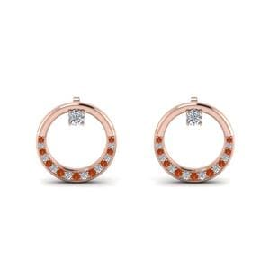 Orange Sapphire Circle Earring