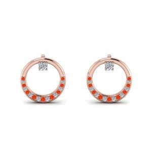 Orange Topaz Circle Earring