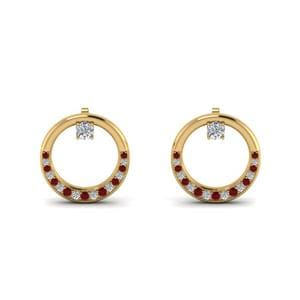Circle Pattern Ruby Earring