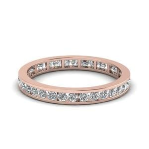 Channel Set Diamond Eternity Wedding Band In 14K Rose Gold