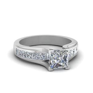 Classic Channel Set Square Diamond Engagement Ring In 14K White Gold