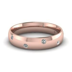 Classic Dome Diamond Comfort Fit Wedding Ring For Men In 18K Rose Gold