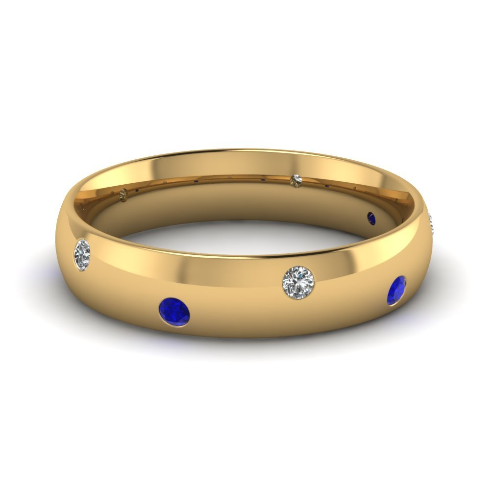 Classic Dome Diamond Comfort Fit sapphire Ring