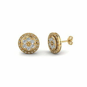 Classic Milgrain Round Diamond Stud Halo Earring For Women In 14K Yellow Gold