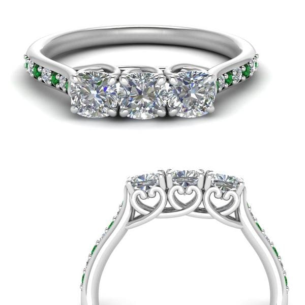 Platinum Emerald Three Stone Ring