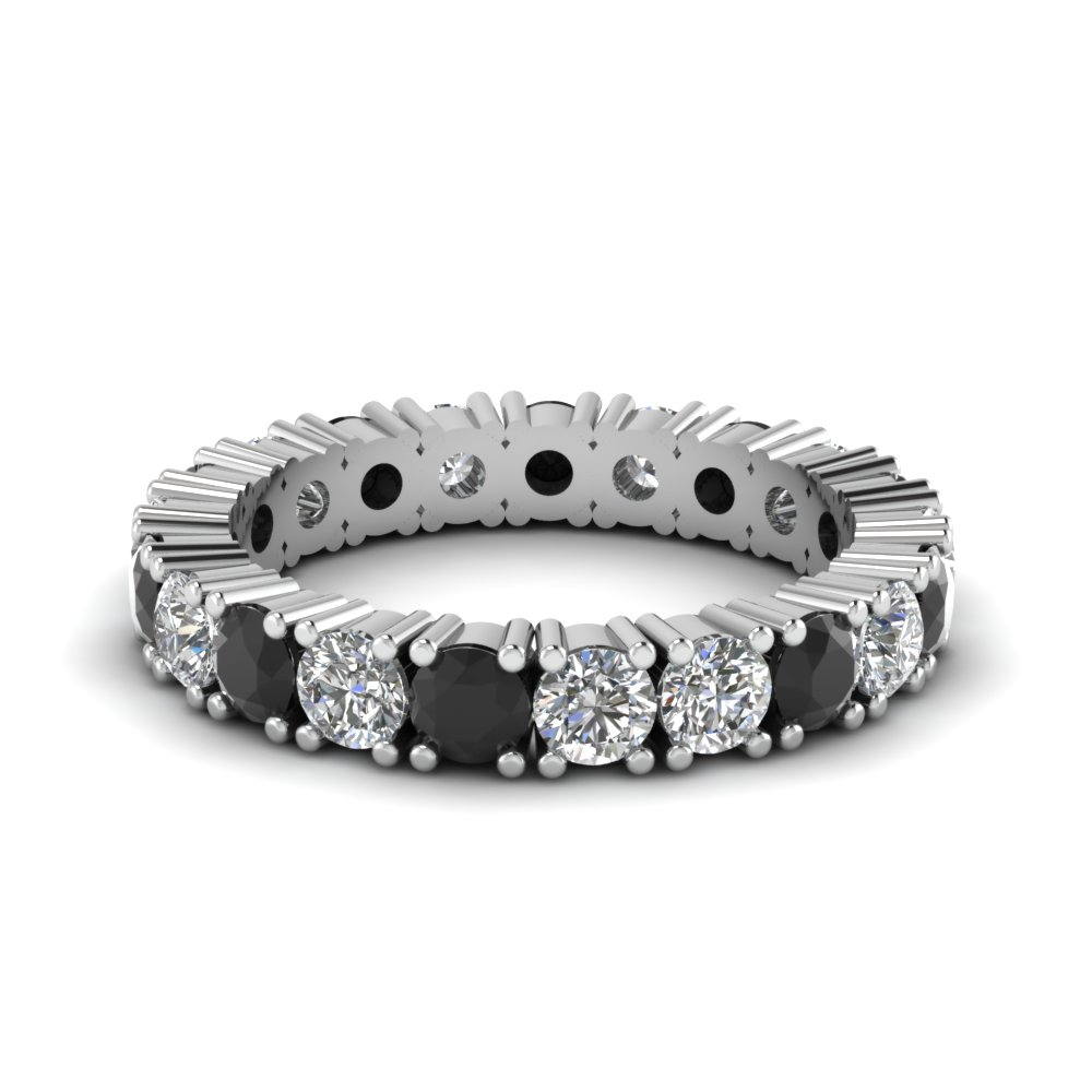 Black Diamond Round Eternity Band