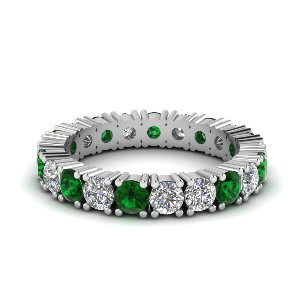 Emerald Shared Prong Eternity Band