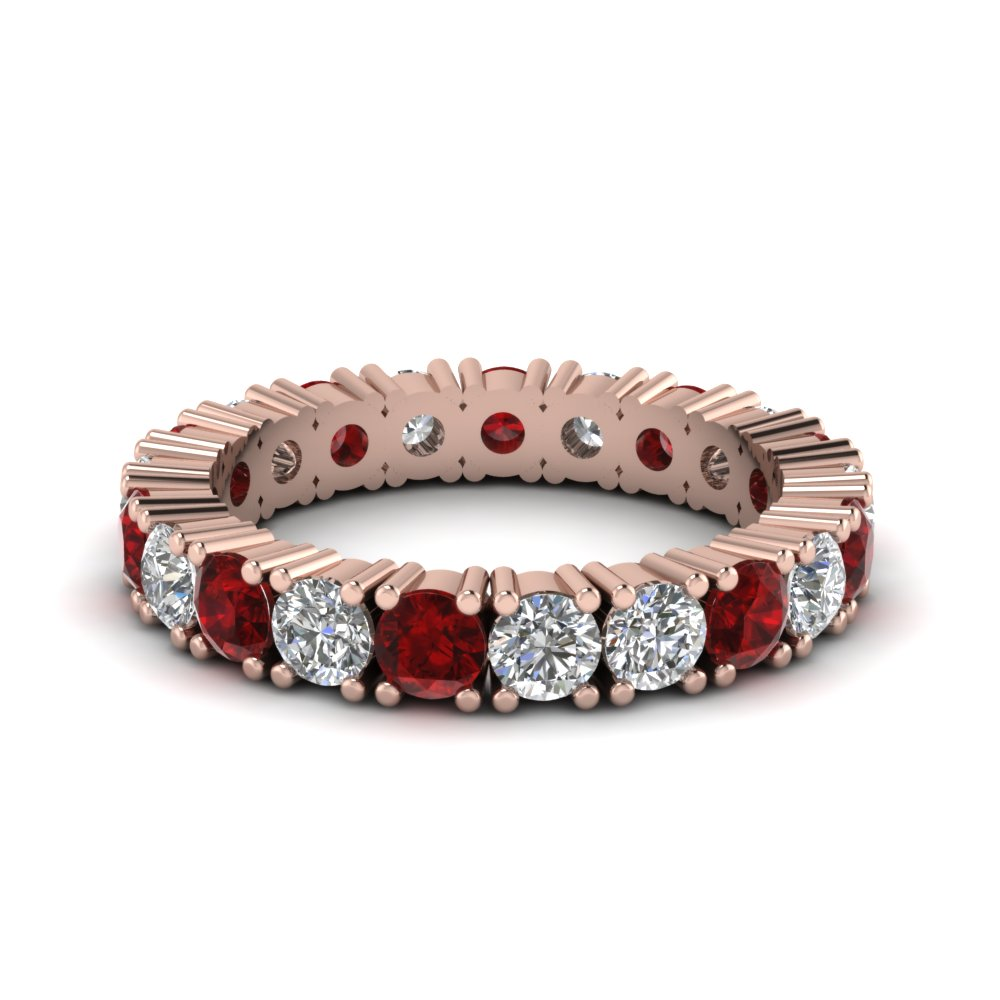 Ruby Shared Prong Eternity Band