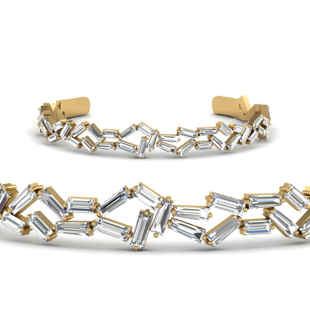 5 Carat Cluster Baguette Bangle Bracelet In 14K Yellow Gold