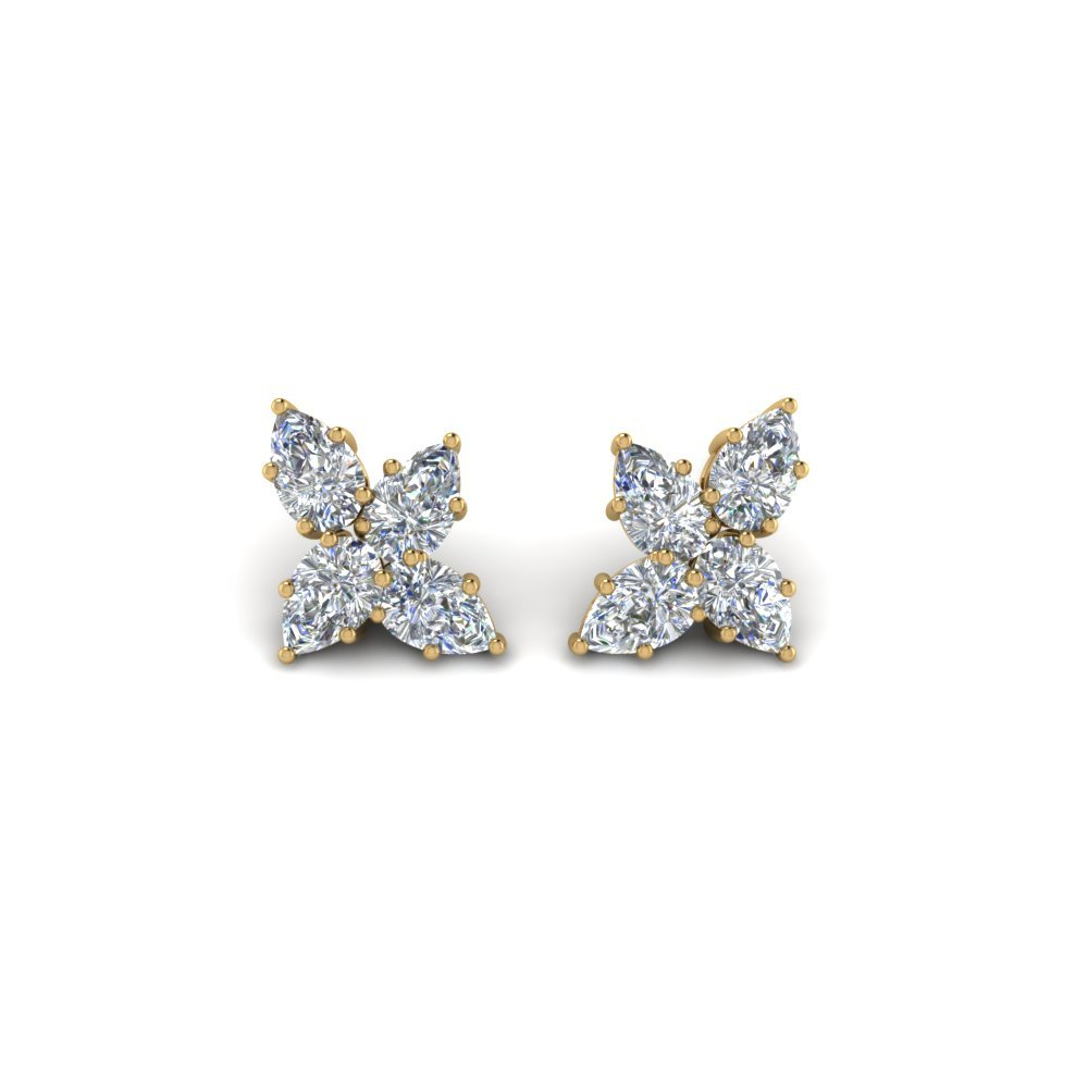 Cluster Diamond Earring Gift For Her In 14K Yellow Gold