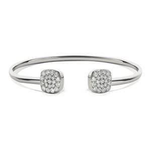 Cluster Diamond Open Bangle Bracelet