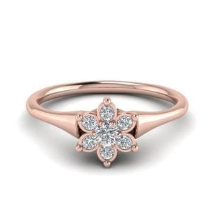 Cluster Flower Diamond Engagement Ring In 14K Rose Gold