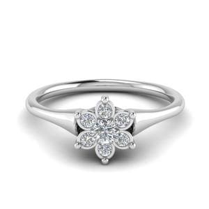 Cluster Flower Diamond Engagement Ring In 14K White Gold