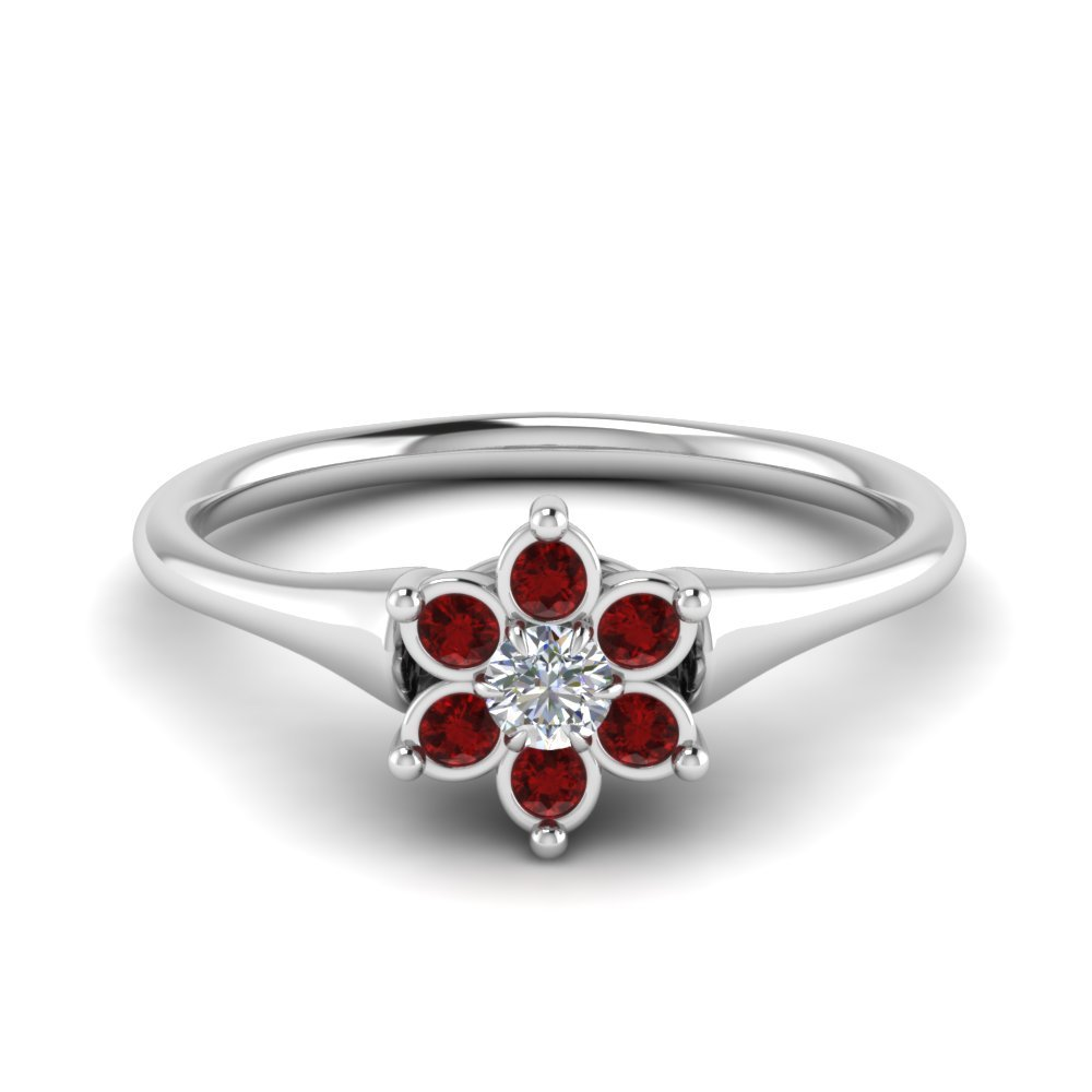 Bezel Floral Ruby Engagement Ring