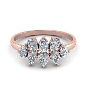Cluster Pear Shaped Diamond Anniversary Band In 14K Rose Gold