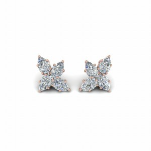 Cluster Pear Diamond Earrings