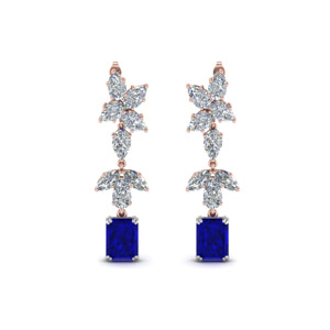 Cluster Sapphire Pear Diamond Drop Earring In 14K Rose Gold