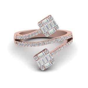 Contemporary Baguette Diamond Ring In 18K Rose Gold