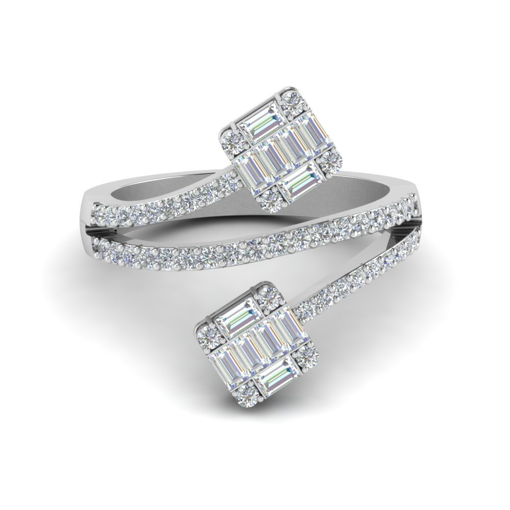 Contemporary Baguette Diamond Ring In 18K White Gold