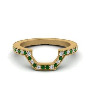 Emerald Contour Wedding Band