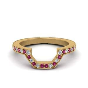 Curved Pink Sapphire Band