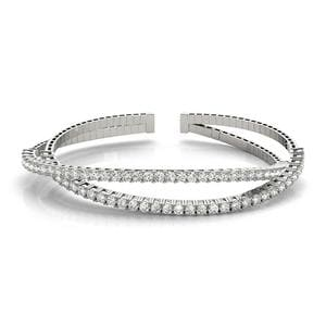 Criss Cross Cuff Diamond Bracelet In 18K White Gold