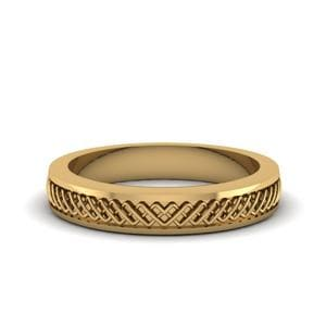 Criss Cross Engraved Wedding Band In 14K Yellow Gold