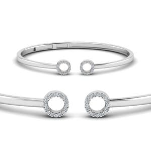 Crossover Open Circle Diamond Bracelet In 950 Platinum