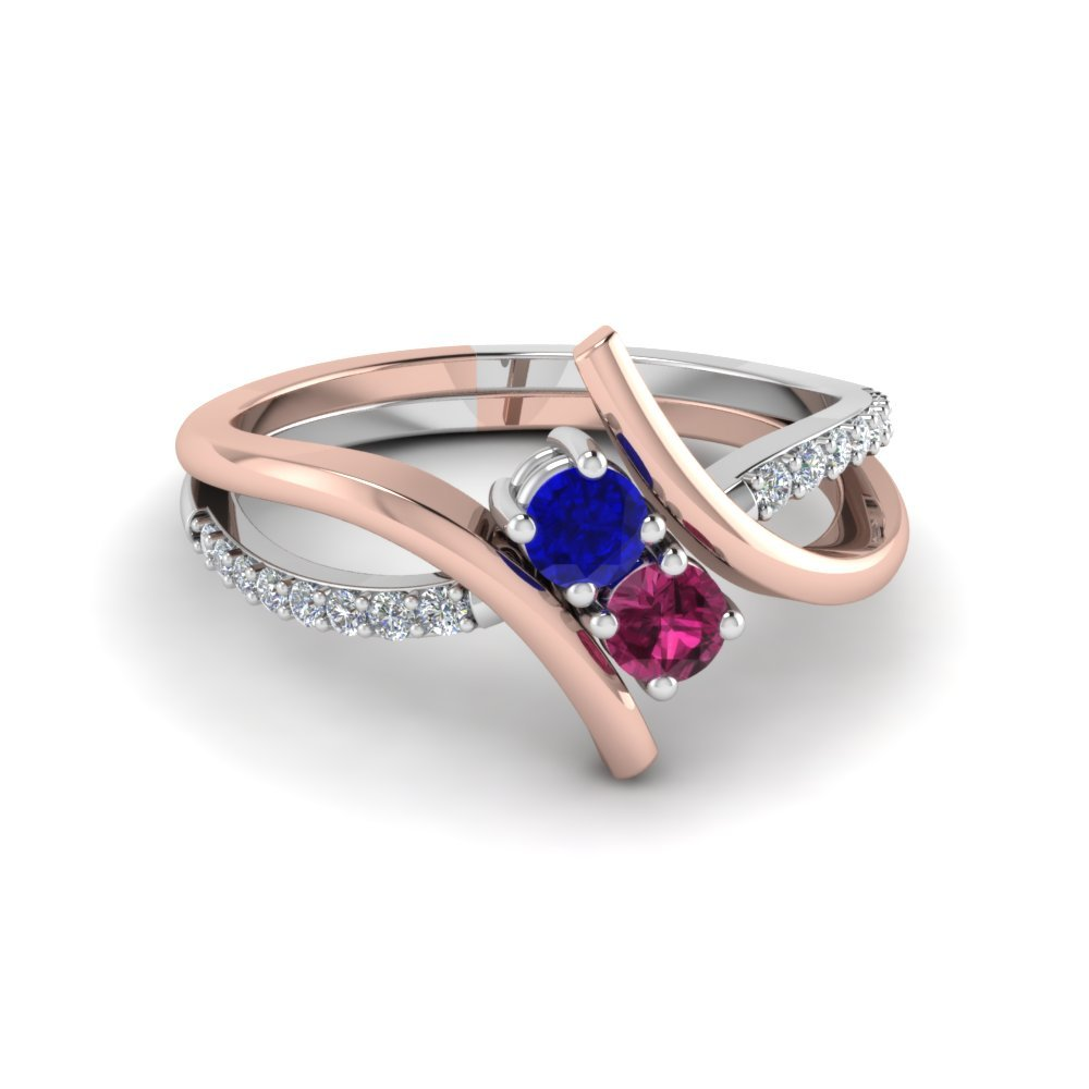 Crossover 2 Sapphire Two Tone Diamond Ring