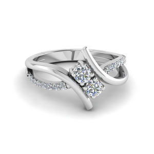 Two Stone Twist Engagement Ring