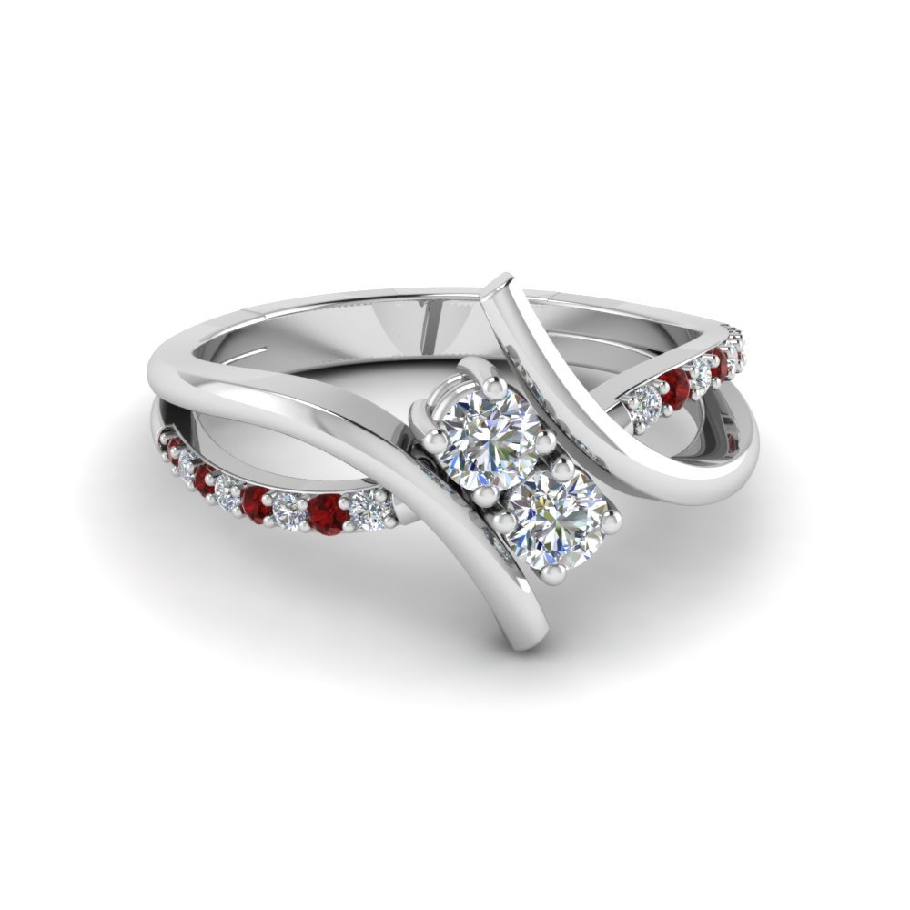 Crossover 2 Stone Diamond Ring
