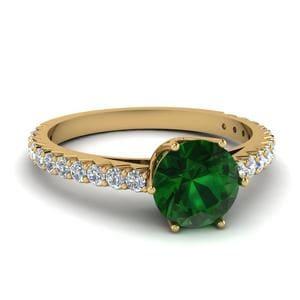 Crown Emerald Diamond Engagement Ring In 14K Yellow Gold